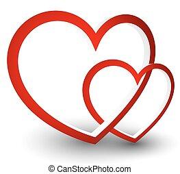 10., eps, vektor, grafika, heart., piros