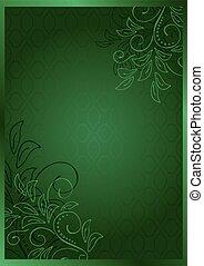 10, -, eps, wektor, zielony, kwiatowy, karta