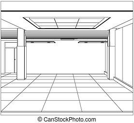 10, escritório, formato, room., eps, wire-frame, vetorial