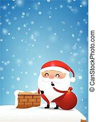 10, espaço cópia, fogo, claus, neve, ilustração, elemento, 001, desenho, chaminé, santa, convite, queda, eps, cartão natal, saudação