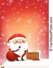 10, espaço cópia, fogo, claus, neve, ilustração, elemento, 002, desenho, chaminé, santa, convite, queda, eps, cartão natal, saudação