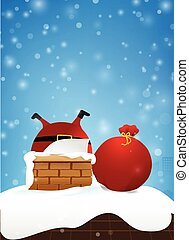 10, espaço cópia, fogo, claus, neve, ilustração, elemento, 003, desenho, chaminé, santa, convite, queda, eps, cartão natal, saudação