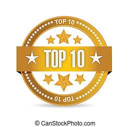 10, estampilla, cima, ilustración, diseño, sello