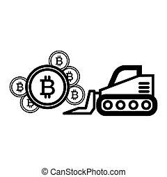 10, estilo, esboço, escavador, mineração, web., bitcoin, ilustração, isolado, vetorial, white., icon., linha, eps, desenho, projetado