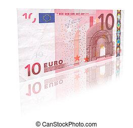 10, euro, à, reflet