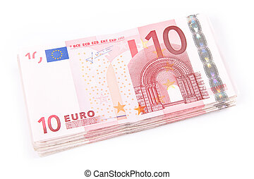 10 euro banknotes - Ten euro banknotes isolated on a white...