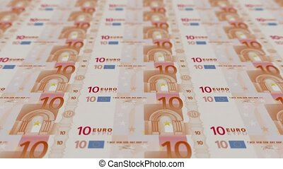 10 euro bills, Printing Money Animation.