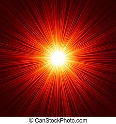 10, explosión de la estrella, eps, amarillo, fire., rojo