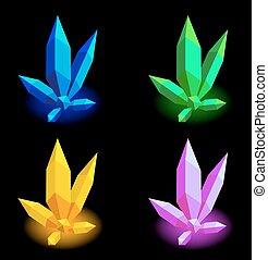 10, färgrik, eps, kollektion, vektor, crystals., illustration