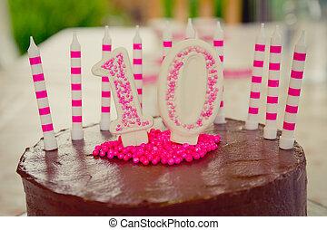 10, födelsedagstårta, dekoration