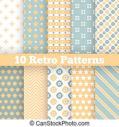 Fashion retro different vector seamless patterns