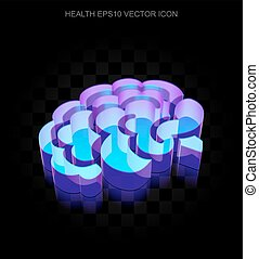10, fatto, vetro, neon, eps, icon:, cervello, ardendo, salute, vector., 3d