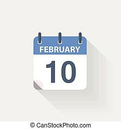10 february calendar icon on grey background