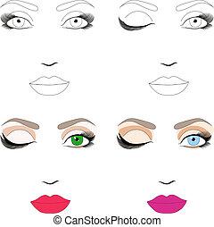 10, femme, maquillage, application., eps, figure, échantillons, plan