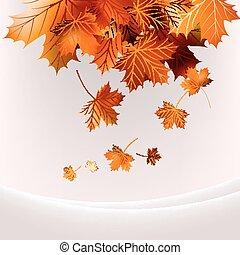 10, feuilles, voler, eps, automne, arrière-plan.