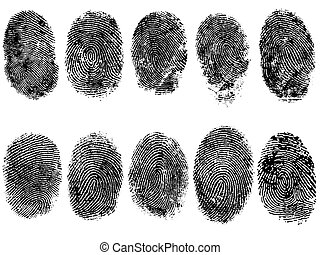 10 Finger Prints - 10 Black and White Vector Fingerprints - ...