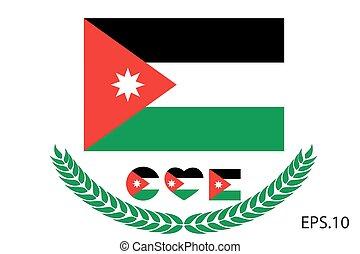 10, flag., eps, ábra, vektor, jordánia
