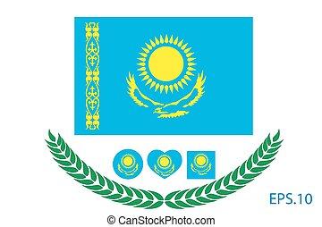 10, flag., eps, ábra, vektor, kazaksztán