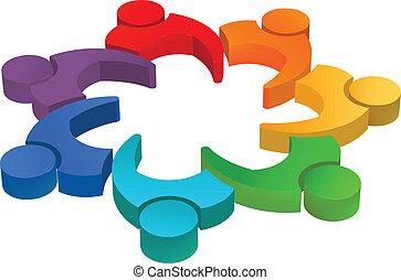10, fogalom, image., végrehajtó, csapatmunka, vektor, ...