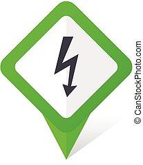 10, fyrkant, eps, vektor, grön, bult, bakgrund, vit, pekare, shadow., ikon