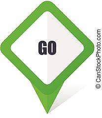 10, fyrkant, eps, vektor, grön fond, gå, vit, pekare, shadow., ikon