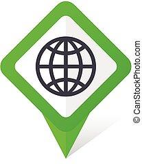 10, fyrkant, eps, vektor, grön fond, mull, vit, pekare, shadow., ikon