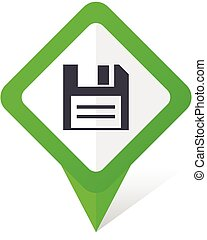 10, fyrkant, eps, vektor, grön fond, vit, skiva, pekare, shadow., ikon