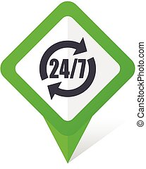 10, fyrkant, service, eps, vektor, grön fond, vit, pekare, shadow., ikon
