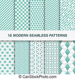 10, géométrique, moderne, seamless, motifs