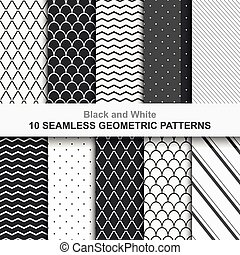 10, géométrique, vecteur, seamless, motifs