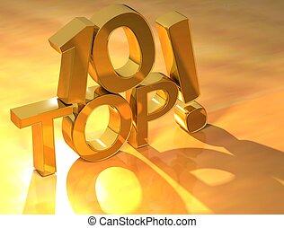 10, górny, złoty, tekst
