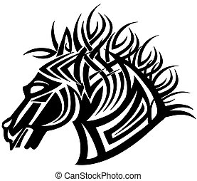 10, głowa, wizerunek, koń, ilustracja, eps, stylizowany, wektor, tattoo.