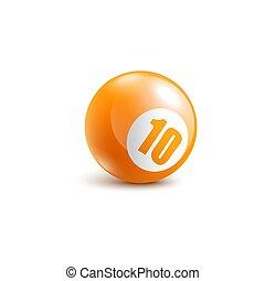 10, game., 現実的, ビンゴ, 数, オレンジ, ボール