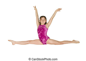 10, gammalt år, flicka, in, gymnastik, ge sig sken