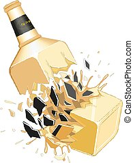 10, garrafa, eps, ilustração, vetorial, quebrada