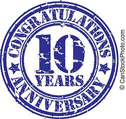10, grunge, anniversaire, illustration, cogratulations, caoutchouc, vecteur, années, timbre