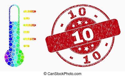 10, grunge, cachet, spectre, vecteur, thermomètre, point, icône