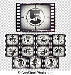 10, grunge, vector., pellicule, brun, -, isolé, illustration, compte rebours, 0, nombres, fond, monochrome, vieux, début, transparent, strip., film.