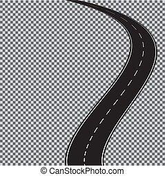 10., háttér., elszigetelt, eps, kanyargás, vektor, áttetsző, út
