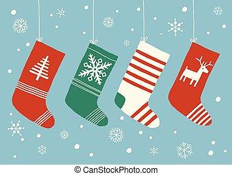 10, hanging., appartamento, eps, calzini, isolato, fondo., vettore, illustrazione, fondo, calze, disegnato, bianco, mano, style., cartone animato, natale