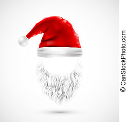 10, (hat, claus, accessori, eps, santa, beard)
