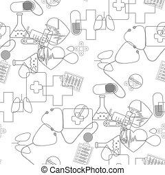 10, heiligenbilder, medizin, pattern., seamless, abbildung, eps, vektor