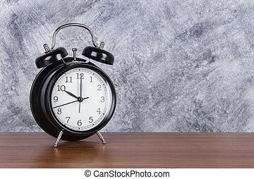 10, horloge, mur, vendange, heure, bois, fond, table