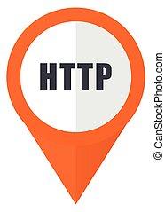 10, http, eps, freigestellt, hintergrund., vektor, orange, weißes, zeiger, ikone