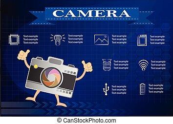 10, icônes, eps, appareil photo, vidéo