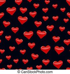10, illustration., padrão, seamless, eps, vetorial, hearts.