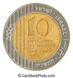 10 Israeli New Sheqel coin isolated on white background
