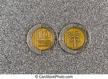 10 Israeli New Sheqel coin on gray background - 10 coin ...