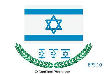 10, izrael, flag., eps, ábra, vektor