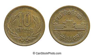 10 japanese yen coin isolated on white with clipping path
